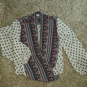 Open front hi-lo blouse